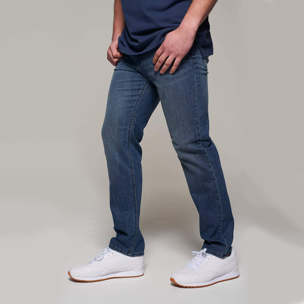 Fortmens model wearing Redpoint Langley Stone Wash Jeans - side view