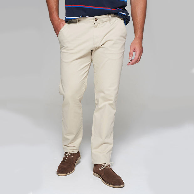 Fortmens modeling wearing Redpoint Odessa Chinos in Sand front view