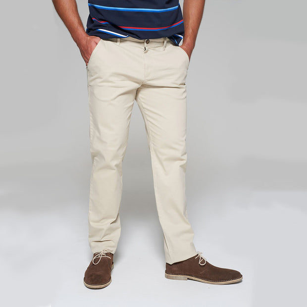 Fortmens modeling wearing Redpoint Odessa Chinos in Sand front view - hands in pockets