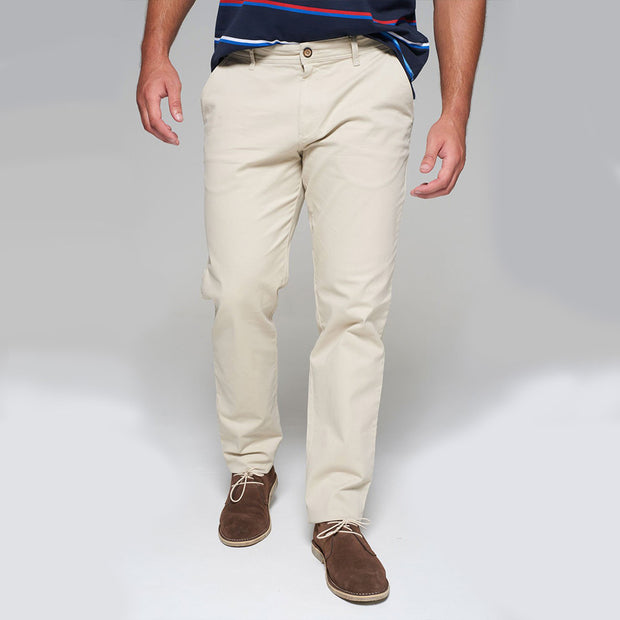 Fortmens modeling wearing Redpoint Odessa Chinos in Sand front walking view
