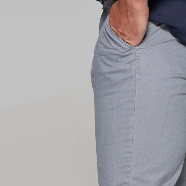 Fortmens model wearing Redpoint Odessa Chino in grey - close up view