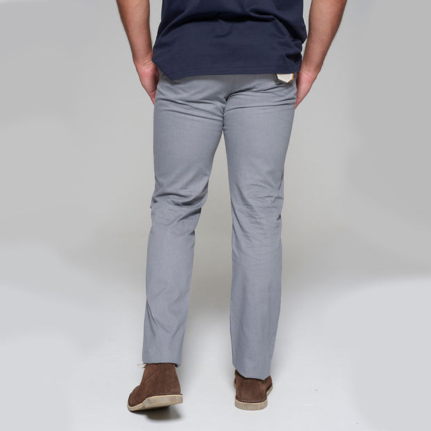 Fortmens model wearing Redpoint Odessa Chino in grey - back view