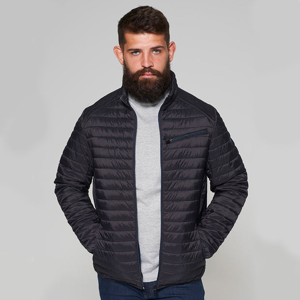 Madboy Classic lightweight quilted jacket in Black - front view unzipped