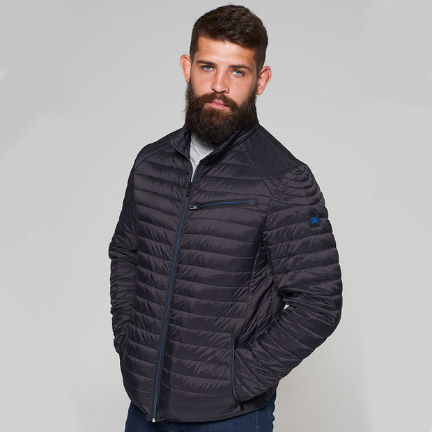 Madboy Classic lightweight quilted jacket in Black - side view zipped