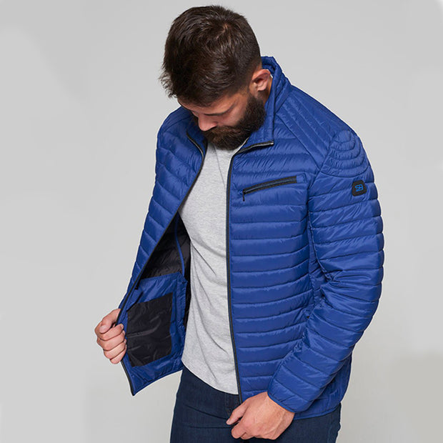 Madboy Classic lightweight quilted jacket in Blue - side view unzipped