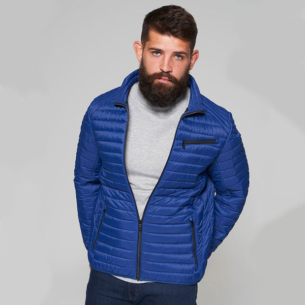 Madboy Classic lightweight quilted jacket in Blue - front view half zipped