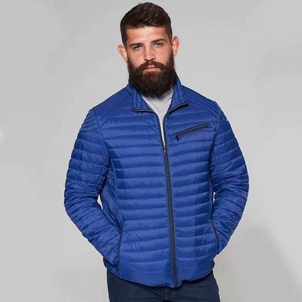 Madboy Classic lightweight quilted jacket in Blue - front view zipped