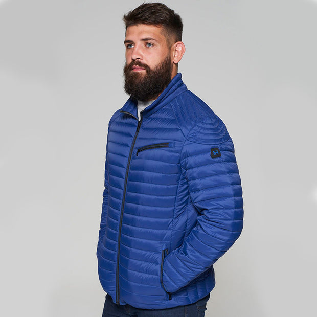 Madboy Classic lightweight quilted jacket in Blue - side view