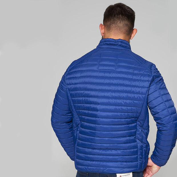 Madboy Classic lightweight quilted jacket in Blue - back view