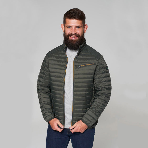 Madboy Classic lightweight quilted jacket in khaki green - front view unzipped