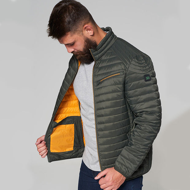 Madboy Classic lightweight quilted jacket in khaki green - side view unzipped
