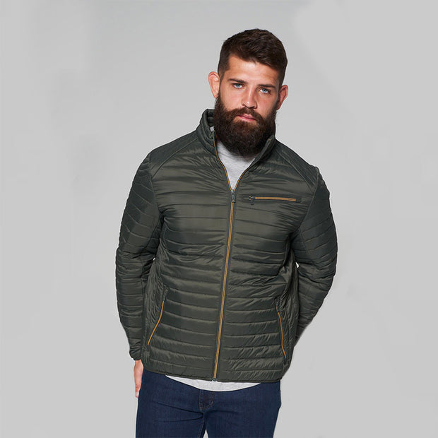 Madboy Classic lightweight quilted jacket in khaki green - front view zipped