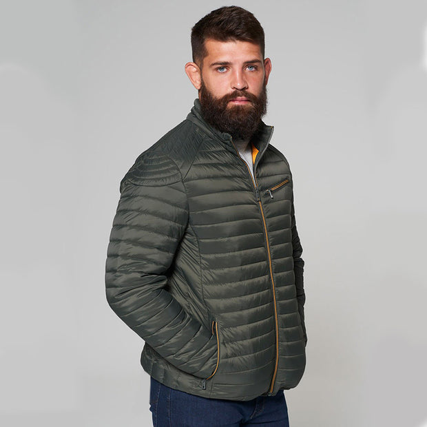 Madboy Classic lightweight quilted jacket in khaki green - side view zipped