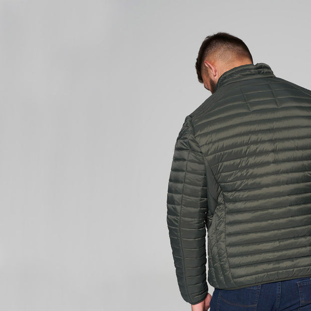 Madboy Classic lightweight quilted jacket in khaki green - back view