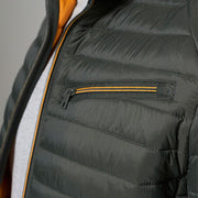 Madboy Classic lightweight quilted jacket in khaki green - side view close up