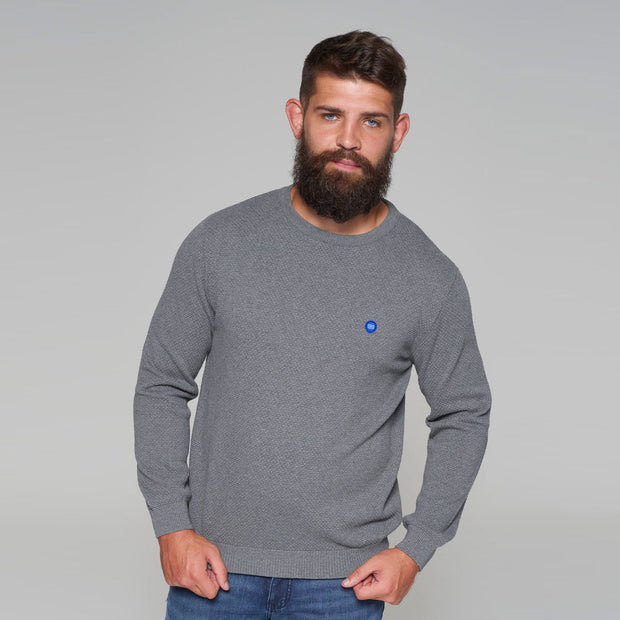 North 56 - Sustainable Crew Neck Knitted Jumper in Grey - front view