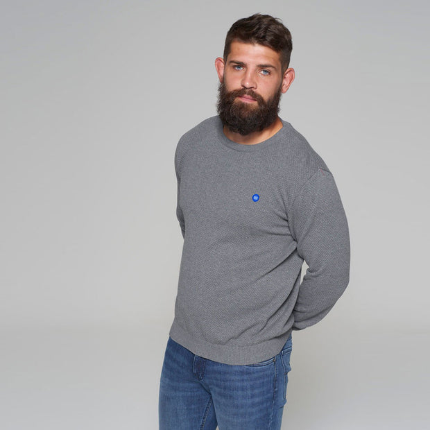 North 56 - Sustainable Crew Neck Knitted Jumper in Grey - front view further back