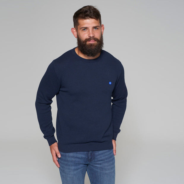 North 56 - Sustainable Crew Neck Knitted Jumper in Navy - side/front view