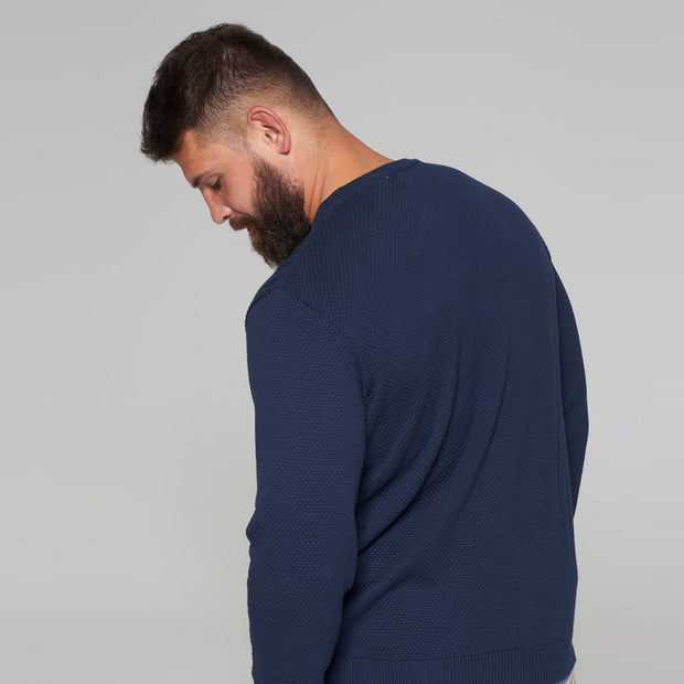 North 56 - Sustainable Crew Neck Knitted Jumper in Navy - back view