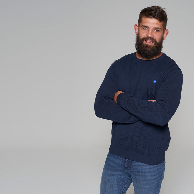 North 56 - Sustainable Crew Neck Knitted Jumper in Navy - front view