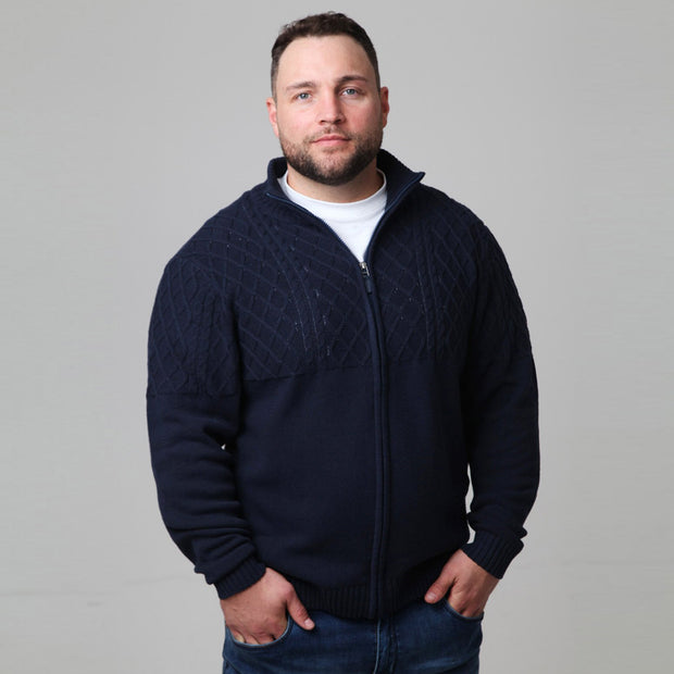 North 56°4  Empire Knitted Cardigan in Navy Blue - front view