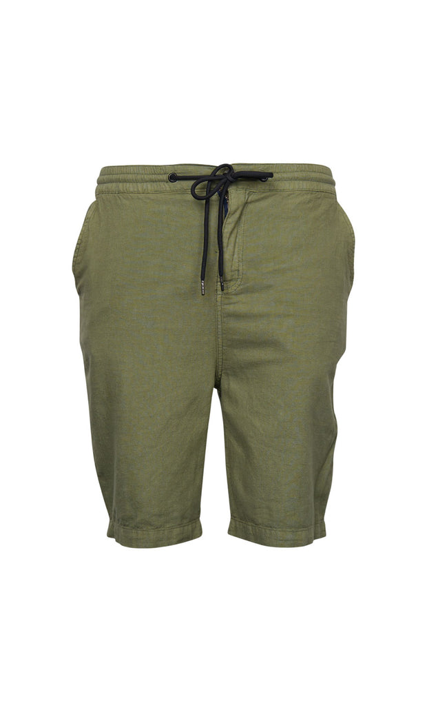 North 56°4 Shoreline shorts in olive green - elastic waist - front view