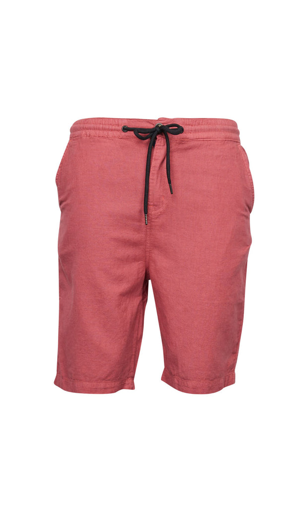 North 56°4 Shoreline shorts in dusty red - elastic waist - front view