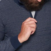 Sustainable Striped Half Zip Knitted Jumper in Navy Blue - front view