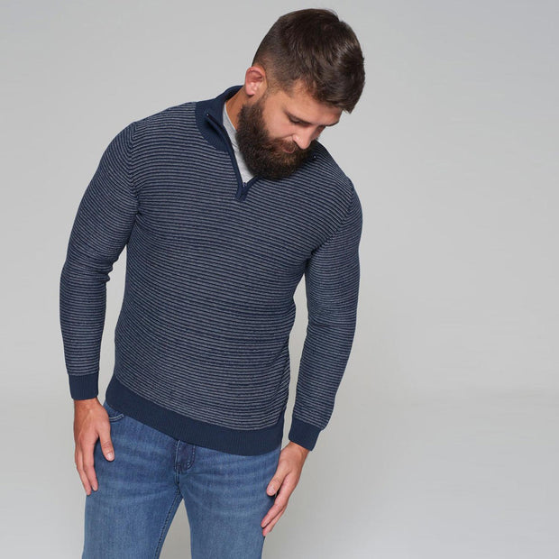 Sustainable Striped Half Zip Knitted Jumper in Navy Blue - back