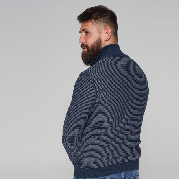 Sustainable Striped Half Zip Knitted Jumper in Navy Blue with jeans