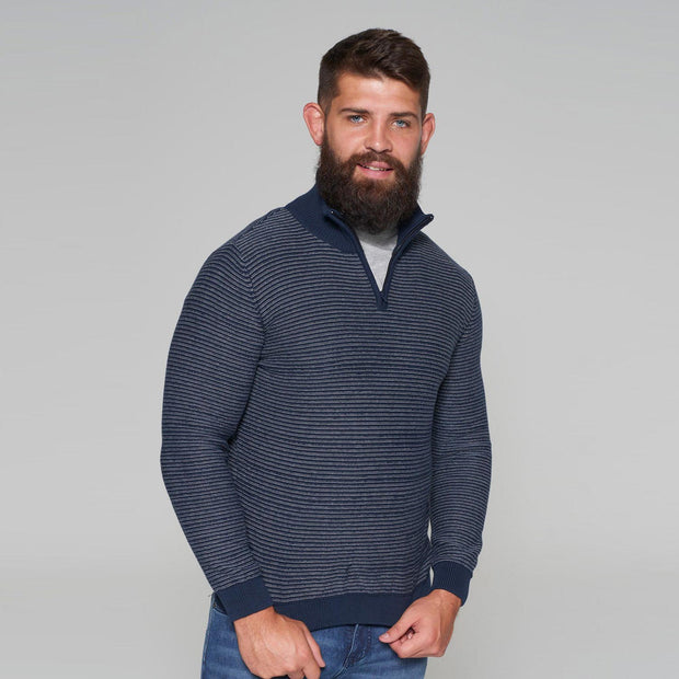 Sustainable Striped Half Zip Knitted Jumper in Navy Blue - fabric view