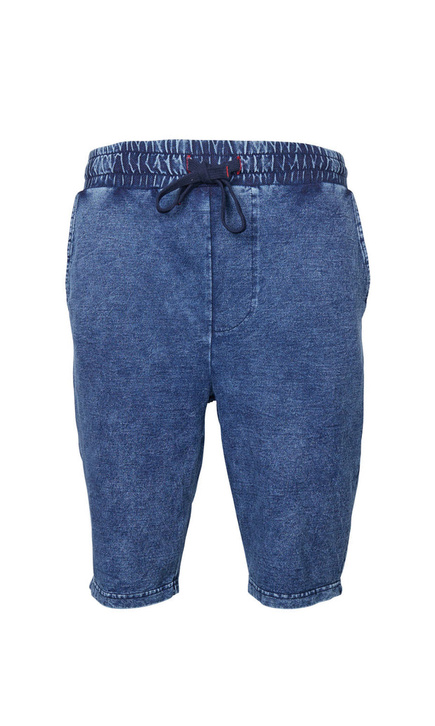 North 56°4 Indigo Sweat Shorts in Blue - front view