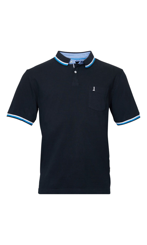 North 56°4 Lighthouse big mens polo shirt in black - front view