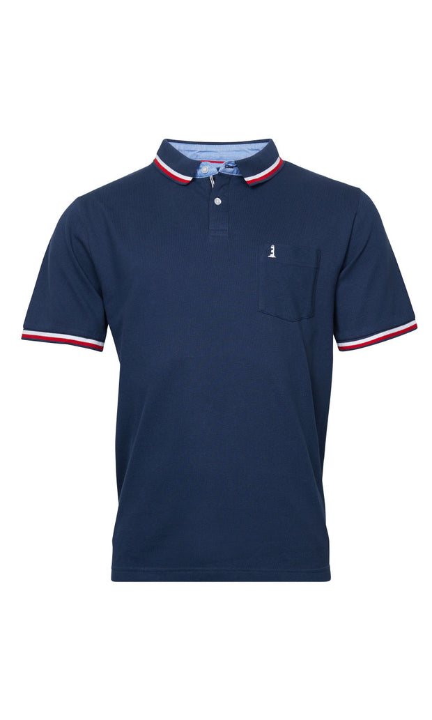 North 56°4 Lighthouse big mens polo shirt in navy blue - front view
