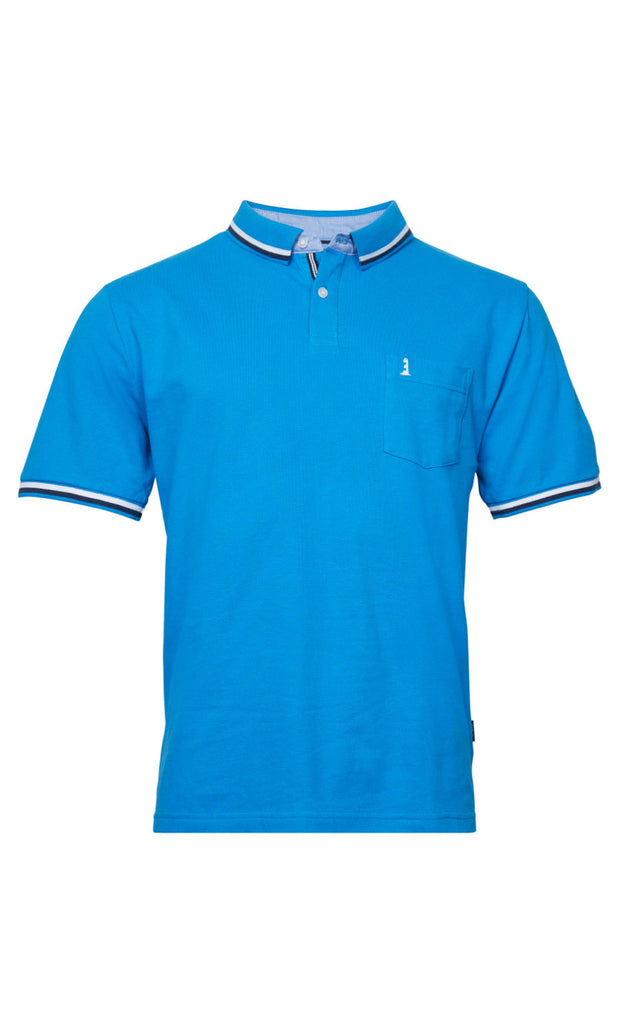 North 56°4 Lighthouse big mens polo shirt in sky blue - front view