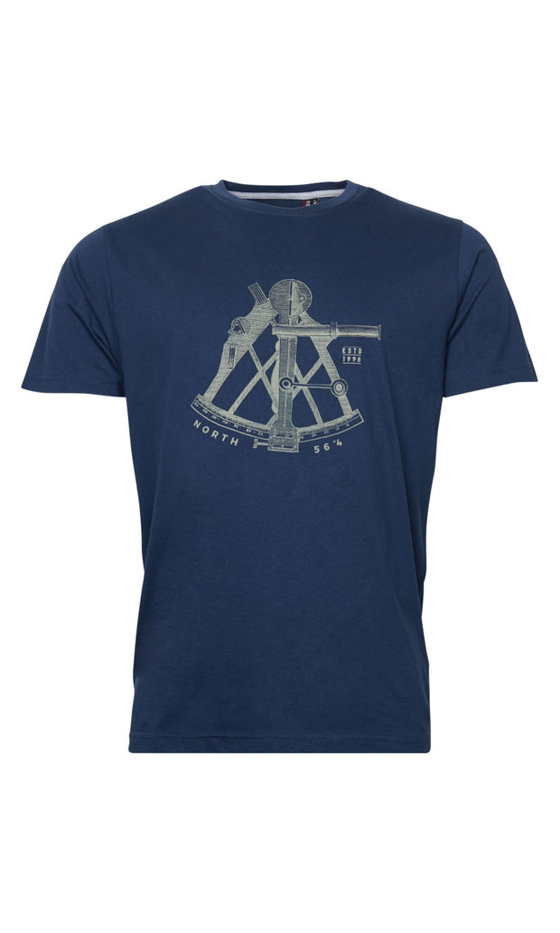 North 56°4 Navigate t shirt - in navy blue - front view
