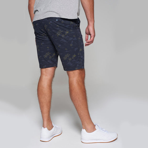 Redpoint - Surray Printed Chino Short in Navy Blue - back view