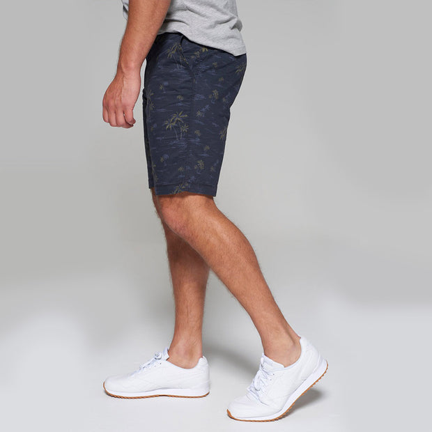Redpoint - Surray Printed Chino Short in Navy Blue - close up view