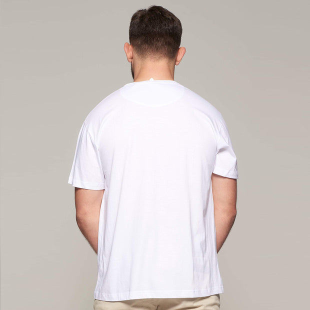 Fortmens model wearing  North 56°4 - Sustainable Crew Neck T-Shirt - White - back view
