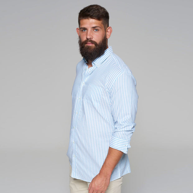Casa Moda - White Shirt with Light Blue Stripes - front view