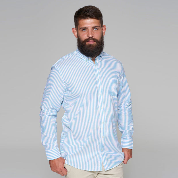 Casa Moda - White Shirt with Light Blue Stripes - front view - rolled sleeves