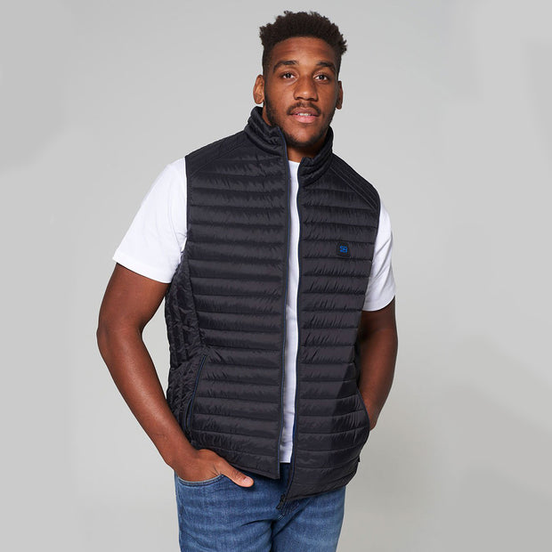 Willis Classic Quilted Gilet - Black - Full body - front - open zip