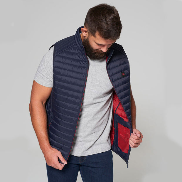 Willis Classic Quilted Gilet - Navy Blue - Full body - front open zip