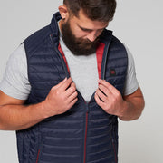 Willis Classic Quilted Gilet - Navy Blue - Close up