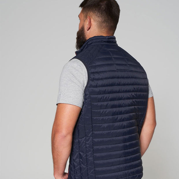 Willis Classic Quilted Gilet - Navy Blue - Full body - back