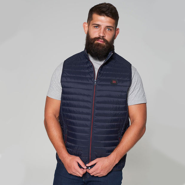 Willis Classic Quilted Gilet - Navy Blue - Full body - front