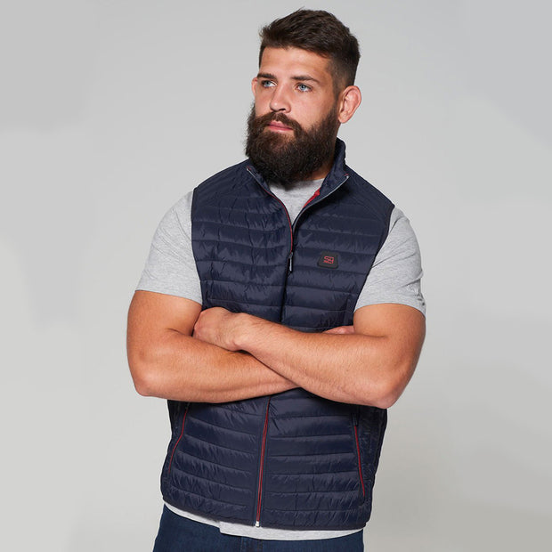 Willis Classic Quilted Gilet - Navy Blue - Full body - front folded arms