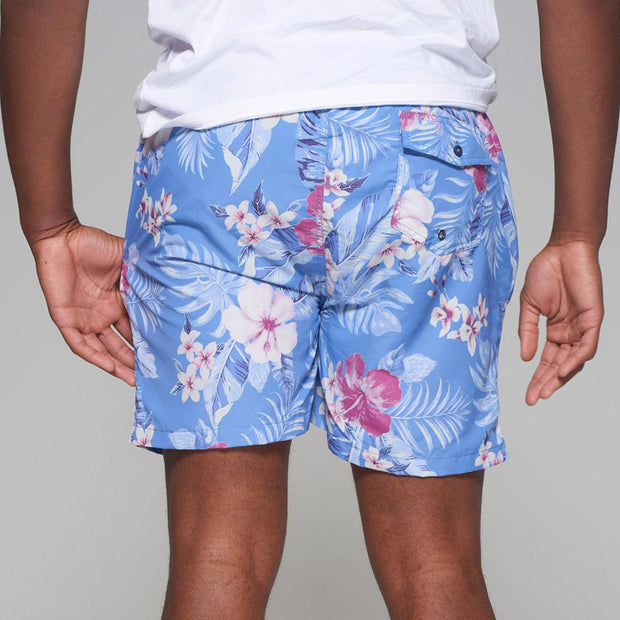 Big men's Kitaro floral swim shorts in vintage blue - back view