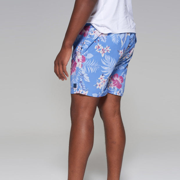 Big men's Kitaro floral swim shorts in vintage blue - side view