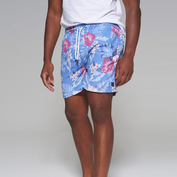 Big men's Kitaro floral swim shorts in vintage blue - front view